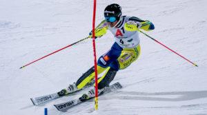 Skier racing downhill