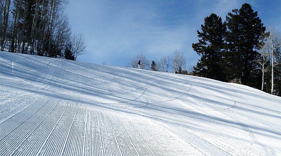 Groomed ski hill